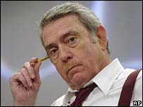 Outgoing CBS news anchor Dan Rather