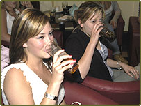 Young women in pub