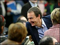 Spanish Prime Minister Jose Luis Rodriguez Zapatero greets supporters in north-western Spain