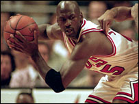 Michael Jordan in action for the Chicago Bulls