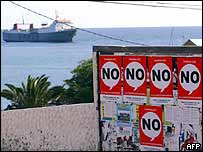 'No' posters on Spain's Fuerteventura Island in the Atlantic