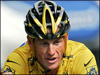 Lance Armstrong in action during the 2005 Tour de France