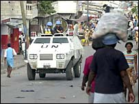 UN peacekeepers patrol a street in Port-au-Prince, Haiti