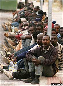 African migrants in the Spanish enclave of Melilla in North Africa