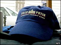 A baseball cap bears the names of US President George W Bush and Russian President Vladimir Putin