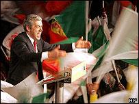 Portuguese Socialist Party leader Jose Socrates salutes supporters