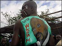 Supporter of George Weah's CDC party