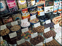 A selection of various sweets in a shop