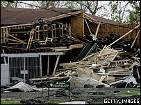 A house in New Orleans destroyed by Hurricane Katrina