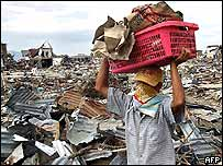 Scene of tsunami damage in Banda Aceh