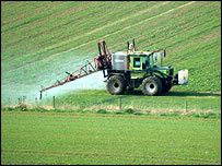 Crop-spraying.  Picture courtesy of FreeFoto.com