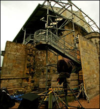 Rosslyn Chapel with production equipment. Picture by Paul Hurst