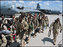 File photo of US troops at Karshi-Khanabad air base in south-eastern Uzbekistan