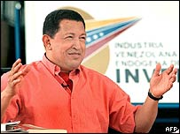 Venezuelan President Hugo Chavez during his Sunday's TV show