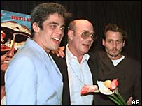 Benicio Del Toro, Hunter S Thompson and Johnny Depp at the premier of Fear and Loathing in Las Vegas