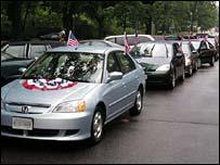 A hybrid car rally in Washington DC