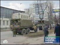 Военный грузовик на улице Нальчика (съемки НТВ)