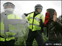 Protestors clashing with police at the G8 summit