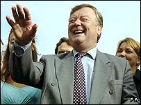 Ken Clarke with supporters on Tuesday