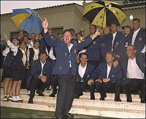 Ian Woosnam leads the celebrations at Valderrama in 1997