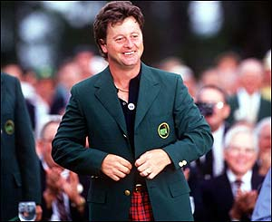 Ian Woosnam wearing the Green Jacket of the Masters champion in 1991