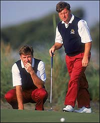 Nick Faldo (left) and Ian Woosnam