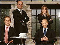 Dragons: From left to right: Peter Jones, Doug Richard, presenter Evan Davis, and Rachel Elnaugh
