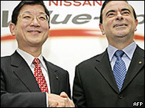 Toshiyuki Shiga (left) and Carlos Ghosn