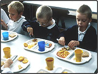 Children eating school dinner