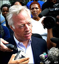 Mark Thatcher outside court in South Africa