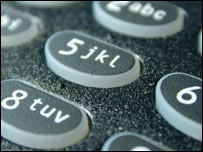 Close-up of mobile phone keypad, BBC