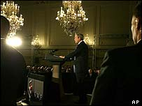 President Bush speaking in Brussels  at start of European visit