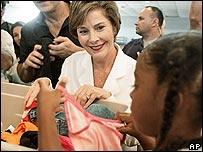Mrs Bush distributing clothing