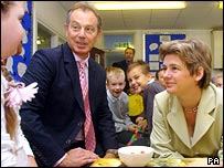 Ruth Kelly and Tony Blair at a school breakfast club