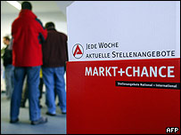 Unemployed queuing in a German job centre