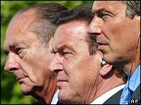 French President Jacques Chirac, German Chancellor Gerhard Schroeder and British Prime Minister Tony Blair