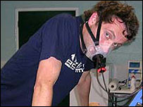 Our man takes the VO2 test