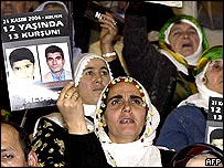 Posters of Ahmet and Ugur Kaymaz at a demonstration in Ankara