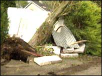 Trees were uprooted in Aghalee