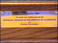 Martina Navratilova's Freedom of Eastbourne plaque