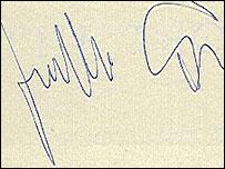 Firma de Guillermo Cabrera Infante
