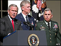 From left to right: President George W Bush, Chairman of the US Joint Chiefs of Staff Gen Richard Myers and US Central Command chief Gen John Abizaid