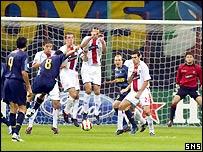 Pizarro strikes the winning goal