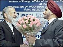 Iranian Foreign Minister Kamal  Kharrazi (L) in Delhi