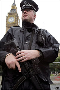 An armed officer patrolling in Westminster