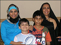 Esmahan (l) with her chidren and mother