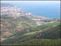 Ceuta viewed from Moroccan forest