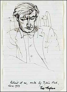A sketch of Ted Hughes by his wife Sylvia Plath