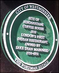 Green plaque outside London's first curry house
