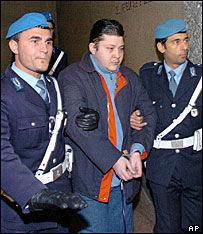 Pietro Guerrieri (centre), sentenced to 16 years in jail